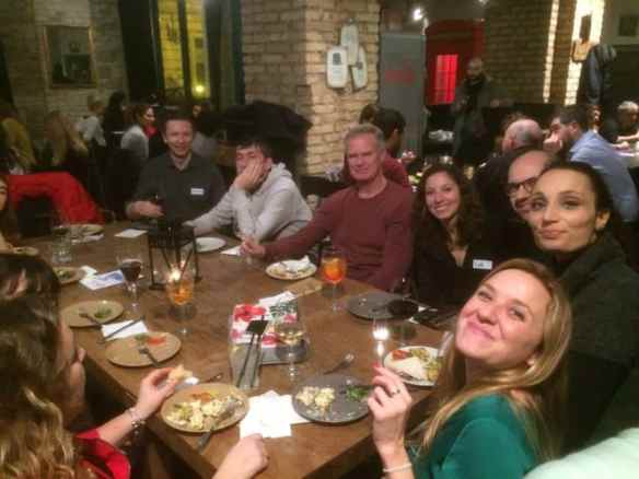 Members of the Expats Living in Rome Meetup group gather at Rec23 for their annual Tuesday aperitivo.