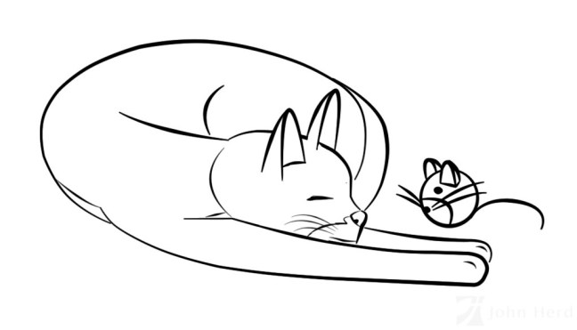 Cartoon cat drawn in Adobe Photoshop