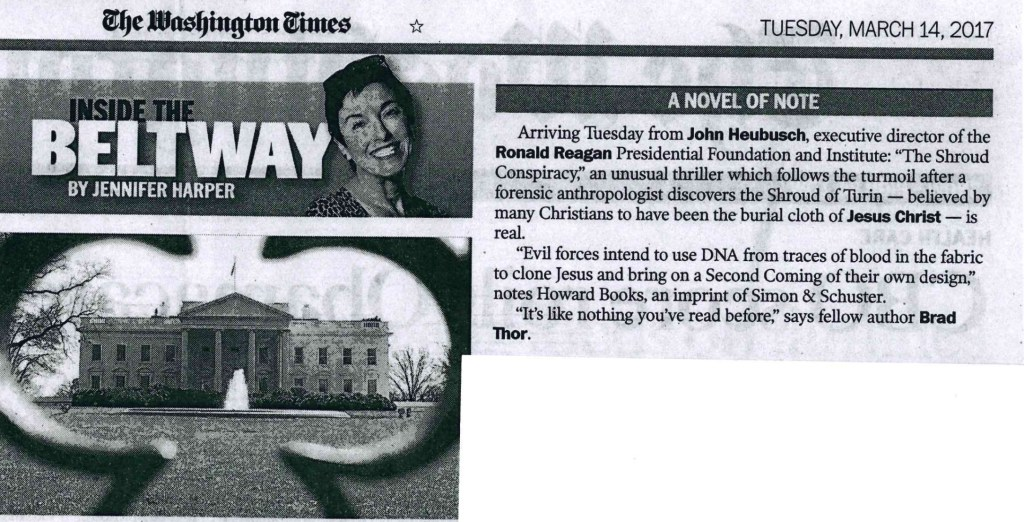 The Washington Times says The Shroud Conspiracy is a novel of note