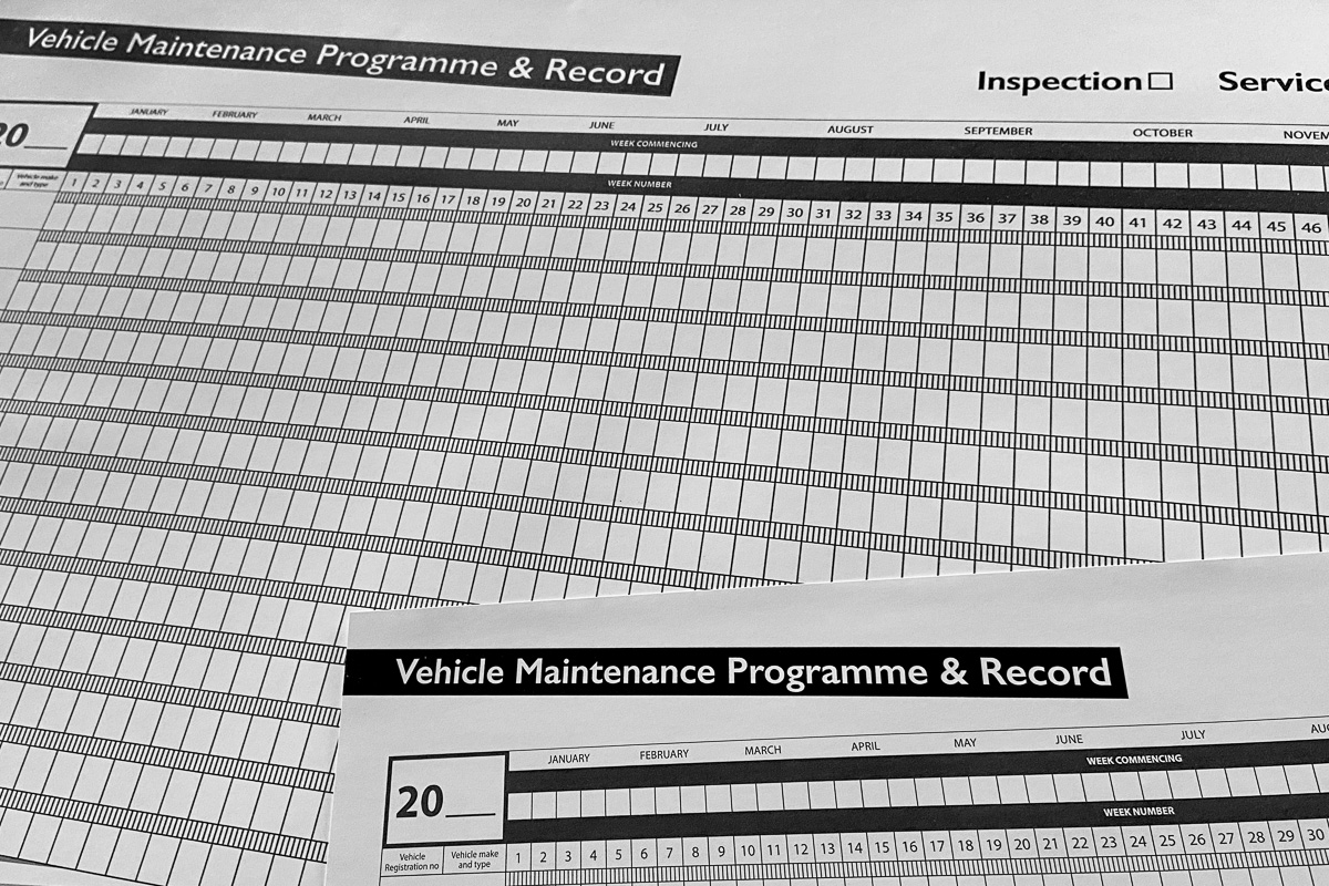 HGV LGV PCV Service & Test Maintenance Programme & Record Sheets.