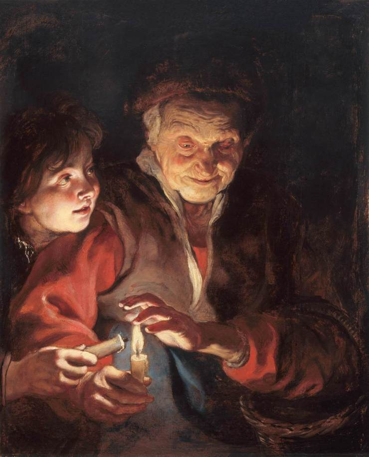 Woman and child with candles.