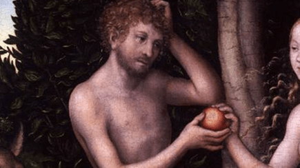 Detail of painting of Garden of Eden. Eve gives Adam fruit from the Tree of the Knowledge of Good and Evil.