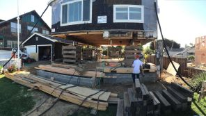 New foundation and first floor. House lifted by Phil Joy.