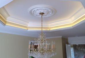 Custom coffered ceiling after