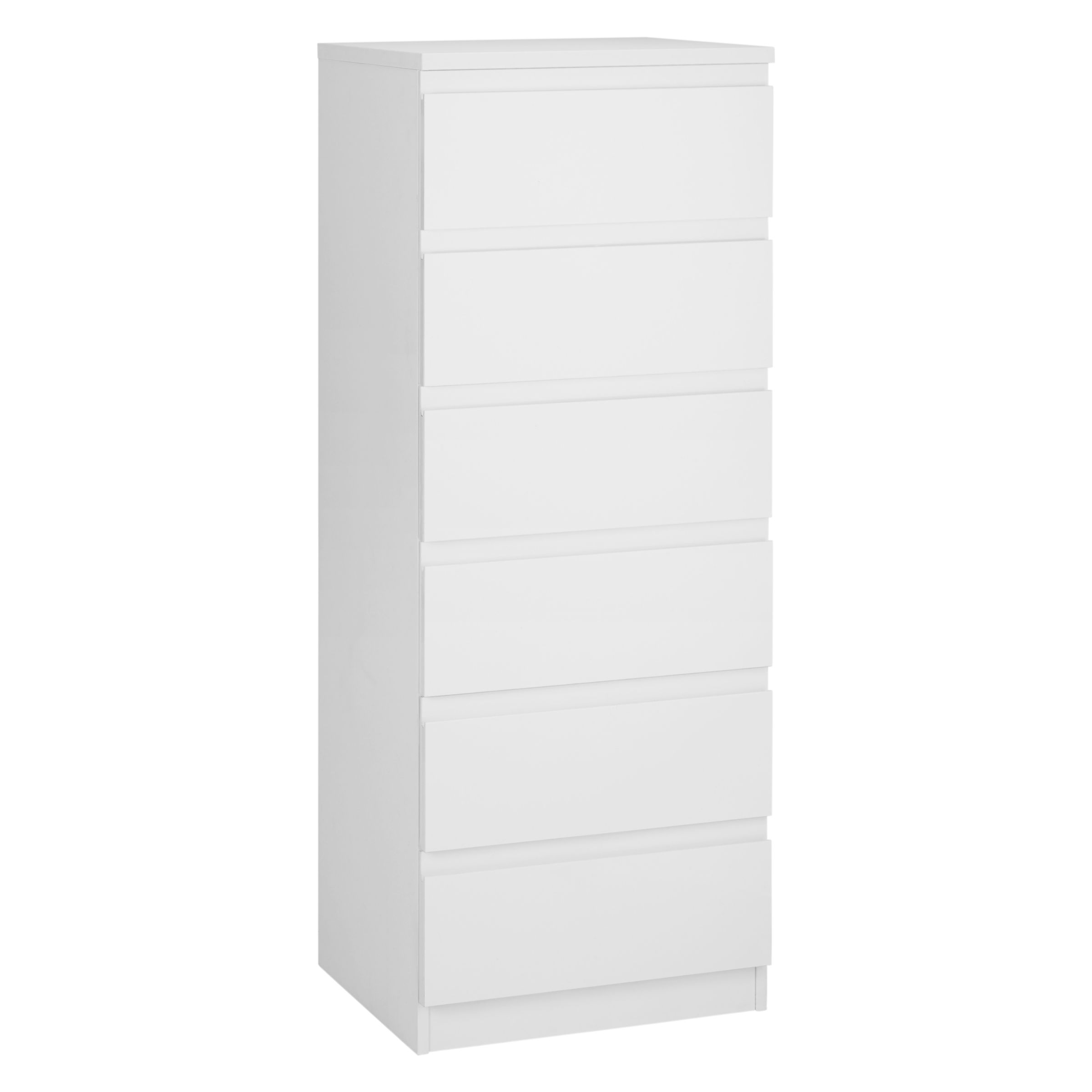 house by john lewis mix it narrow 6 drawer chest gloss white matt white