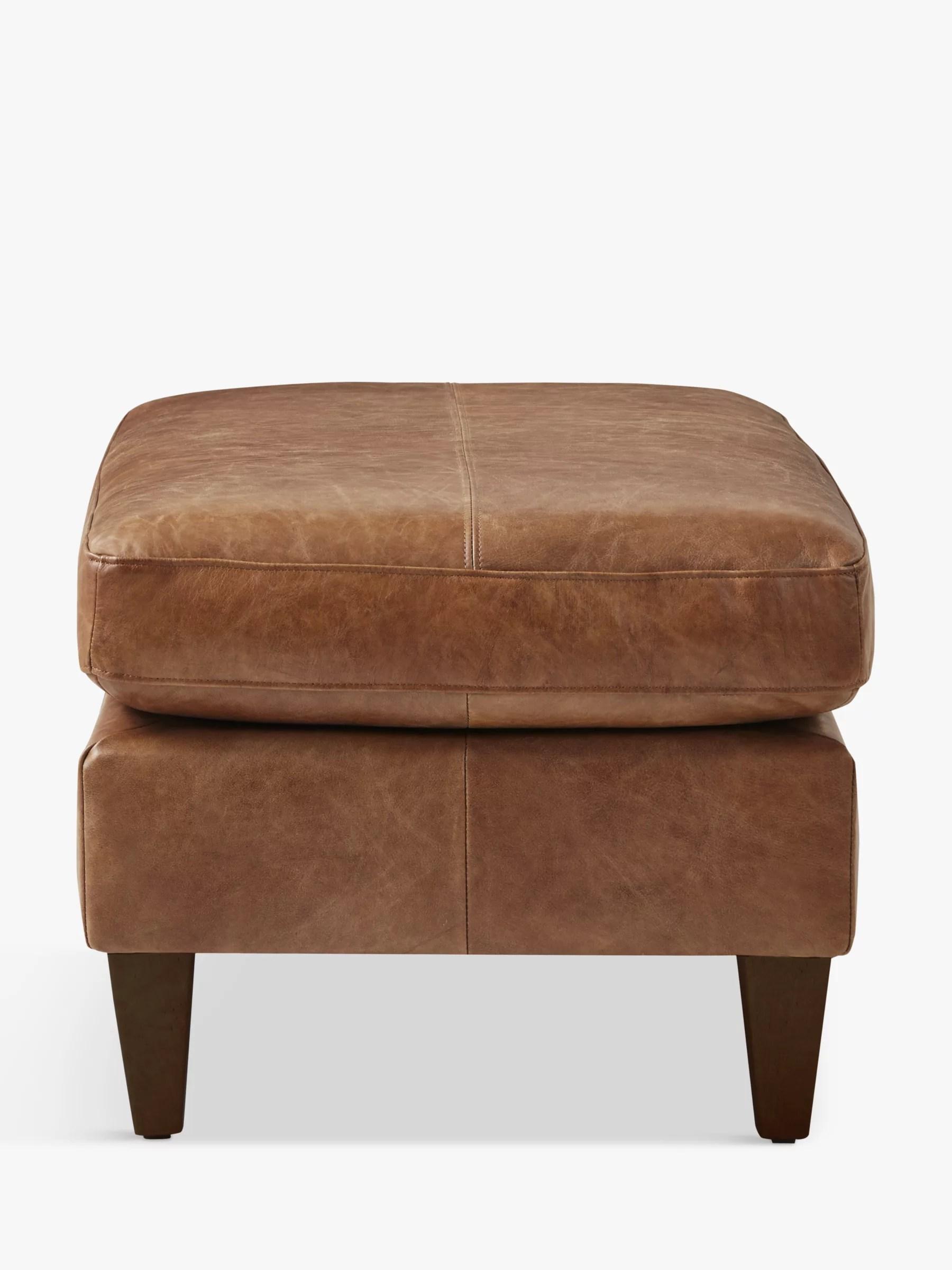 john lewis partners bailey leather footstool dark leg luster cappuccino