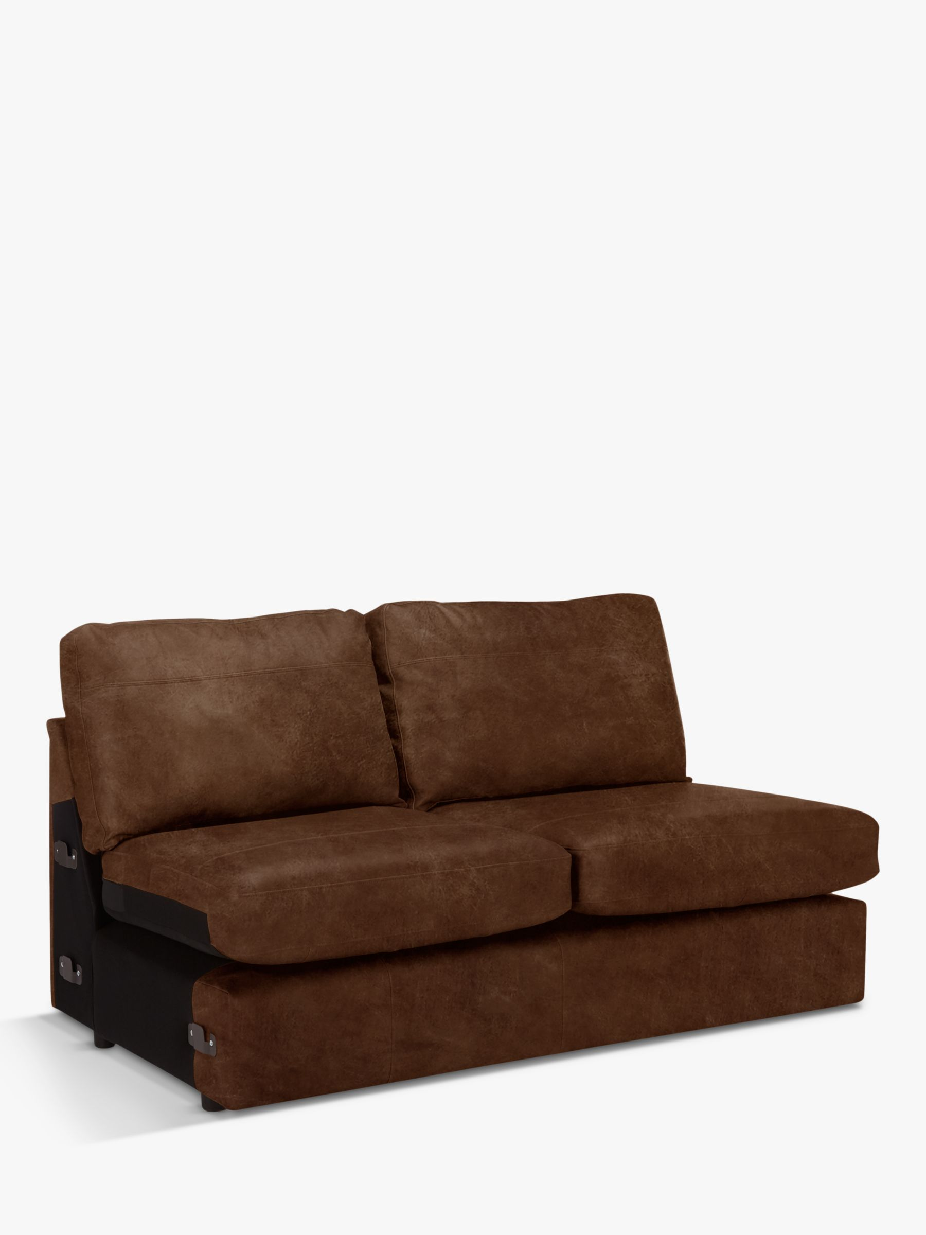 house by john lewis oliver armless leather large 3 seater unit dark leg antique whiskey