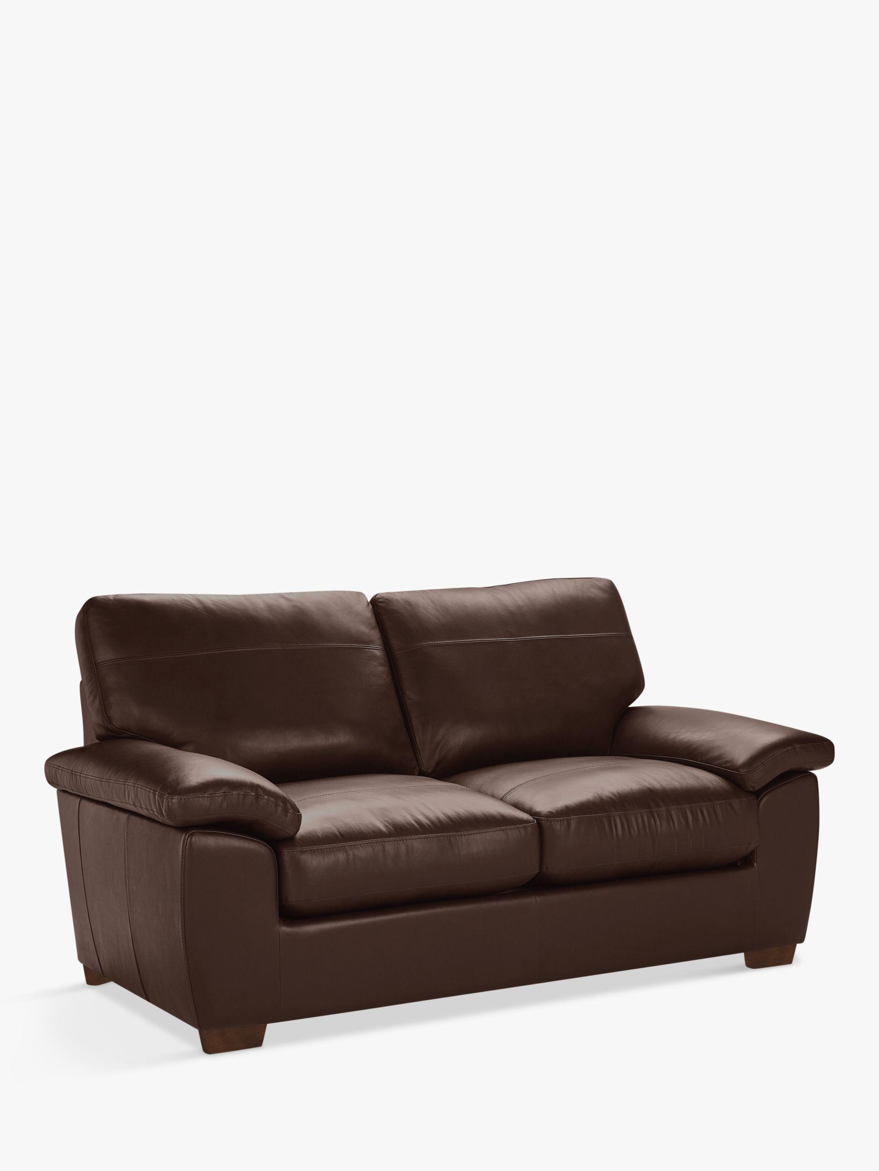 John Lewis Partners Camden Medium 2 Seater Leather Sofa Dark Leg Nature Brown At John Lewis Partners