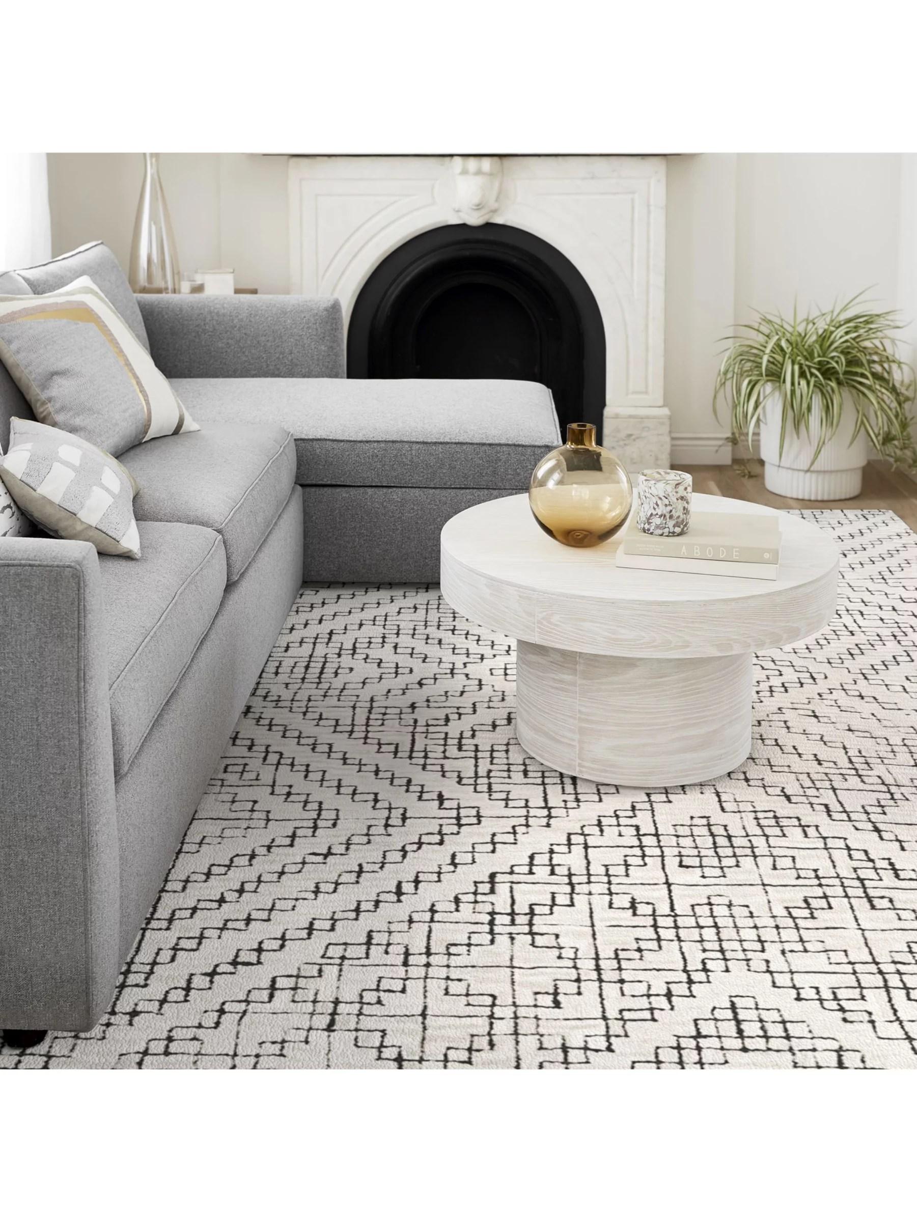 west elm stone tile rug l244 x w152 cm