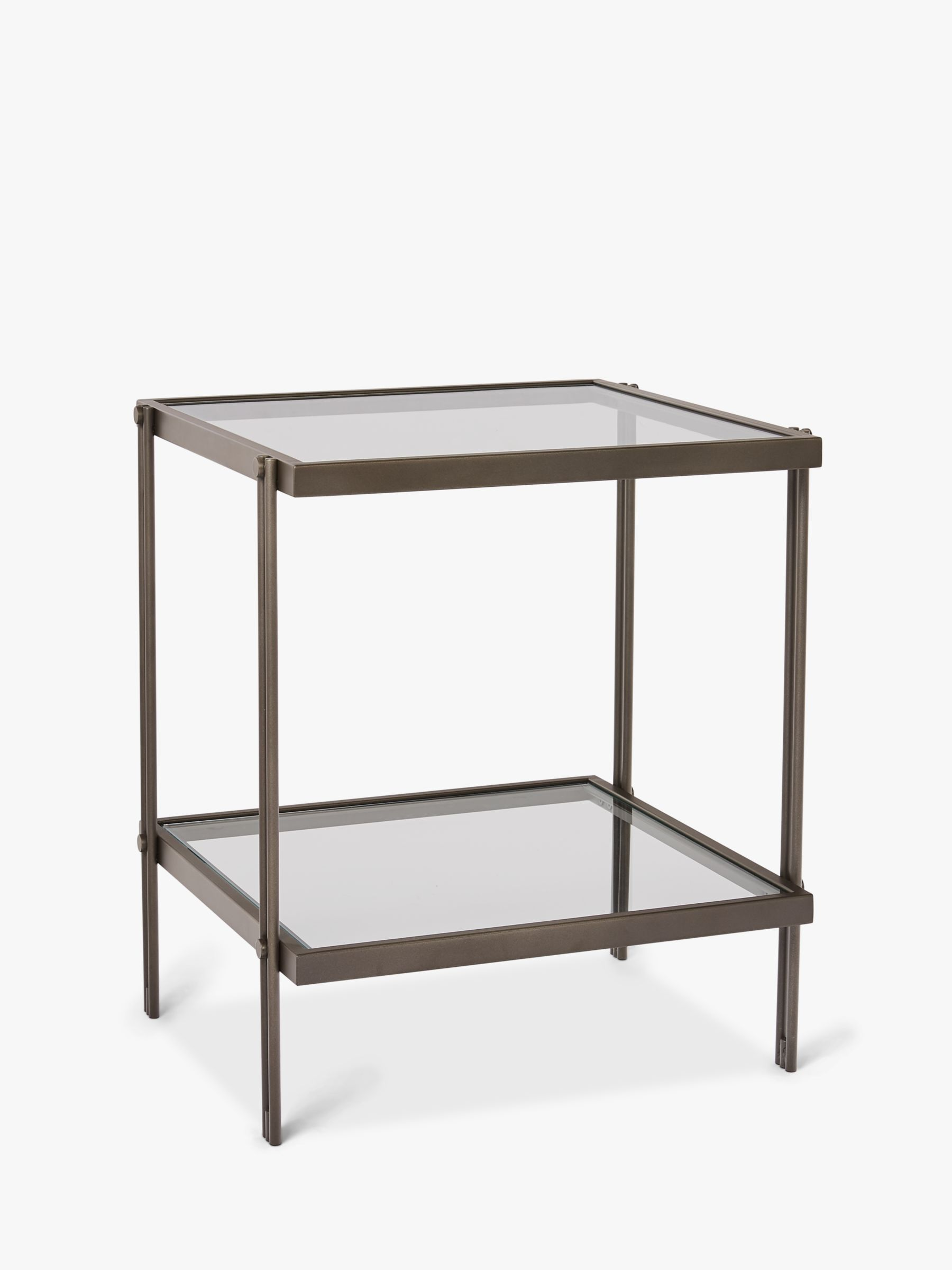 West Elm Fulton Glass Side Table Bronze At John Lewis Partners