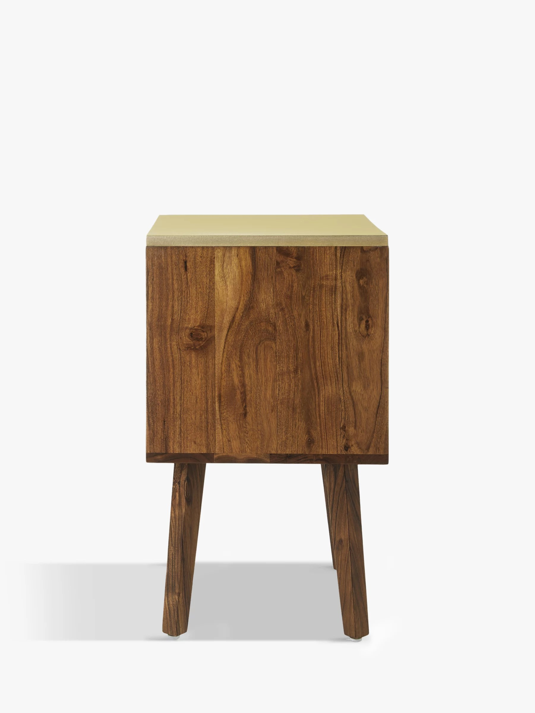 John Lewis Partners Padma 2 Drawer Bedside Table Brown Brass