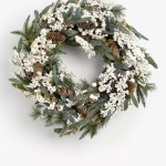 John Lewis Partners Snowscape Pine Cone And Mistletoe Wreath Green White At John Lewis Partners
