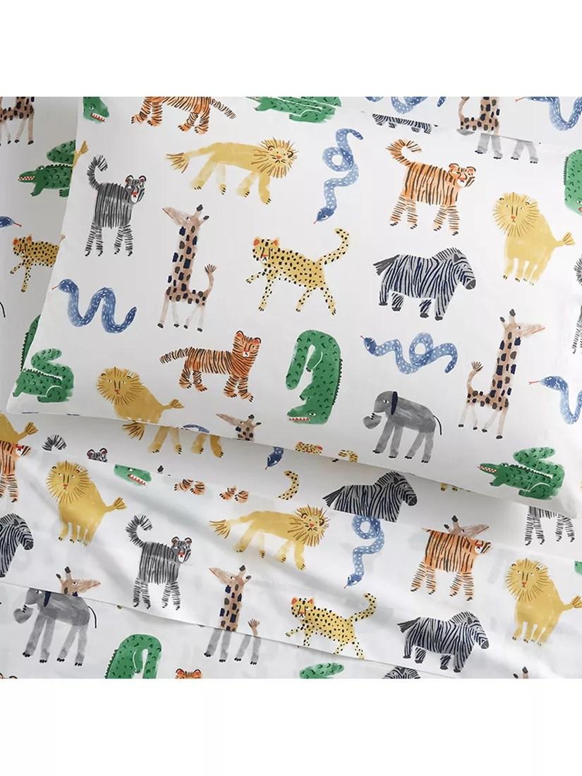 pottery barn kids cotton silly safari sheet and pillow case set 89 x 191cm multi