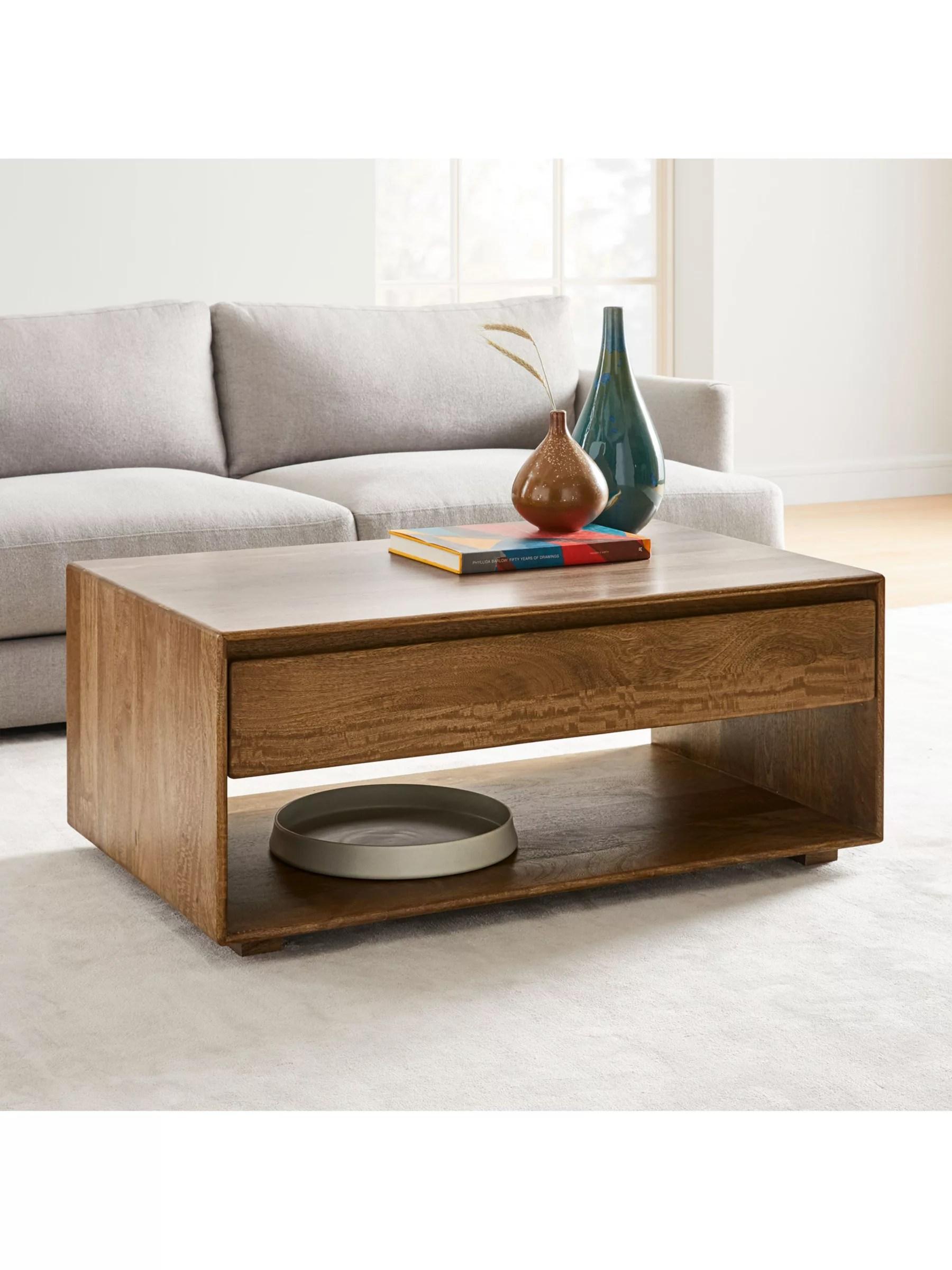 west elm anton storage coffee table brown