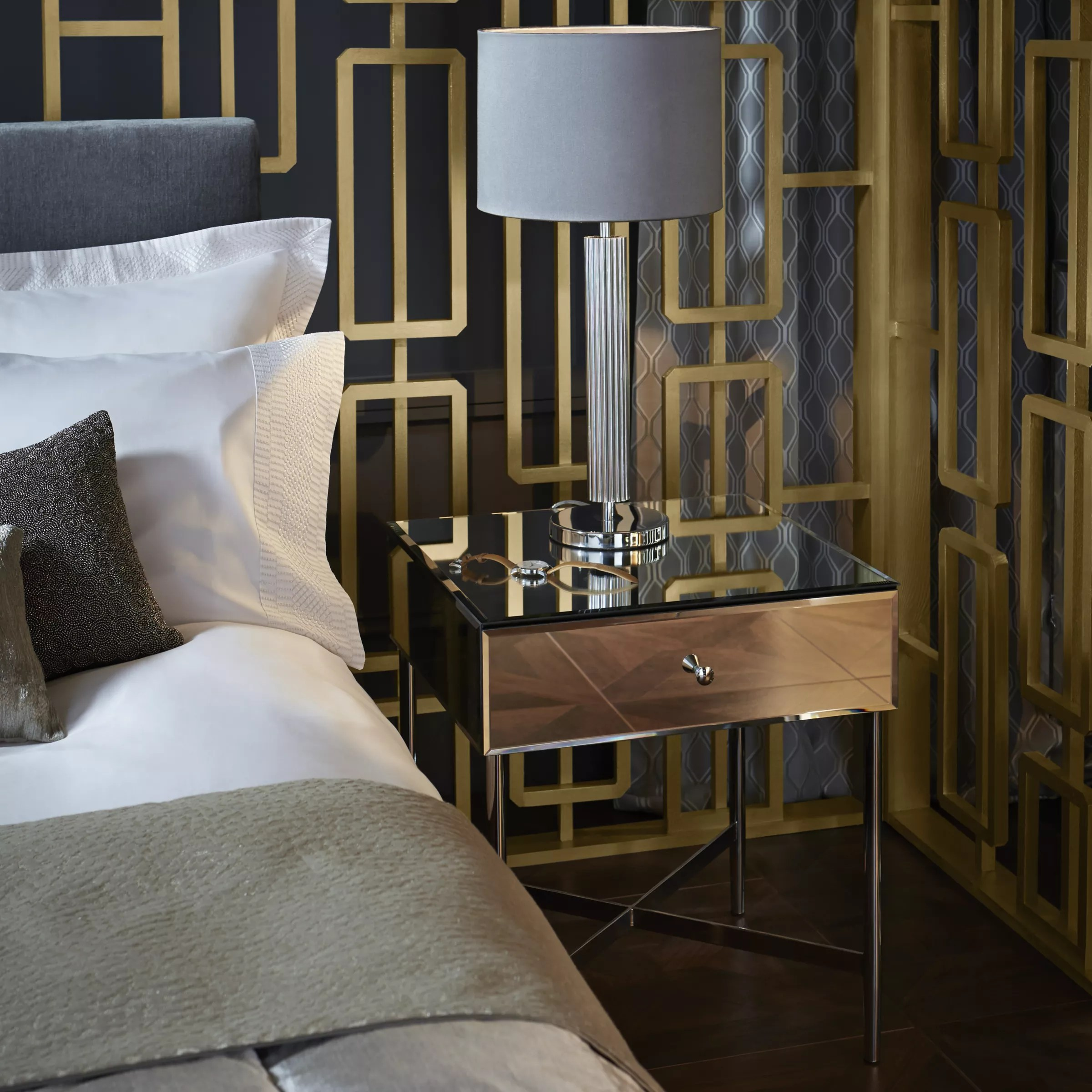 John Lewis Partners Alexia 1 Drawer Bedside Table Mirror At John Lewis Partners