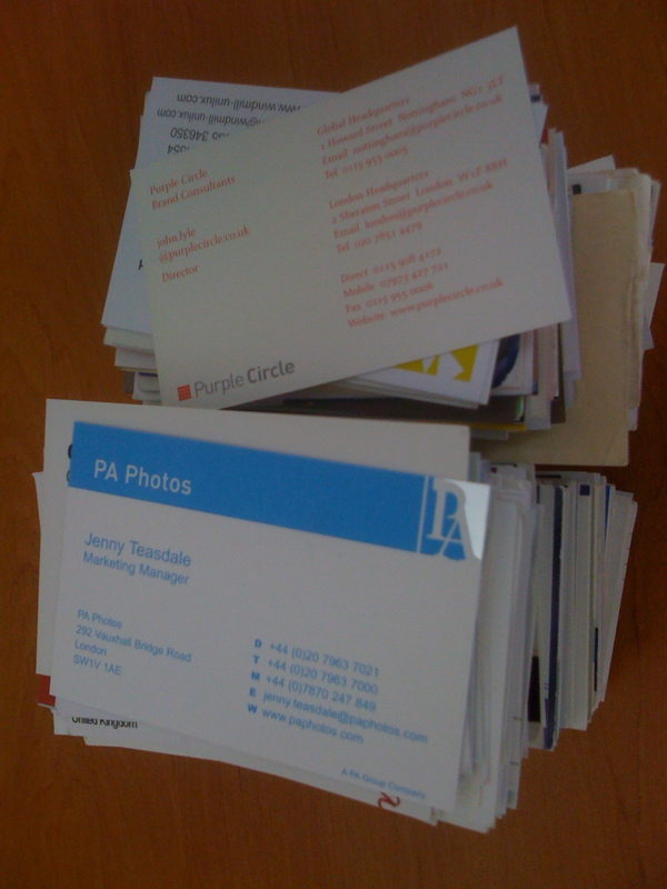 A big pile of business cards