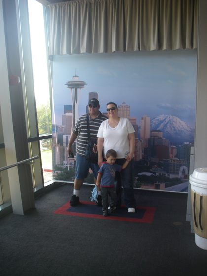 Bud, Chuck and Candy do the Space Needle - or rather a picture of the Space Needle
