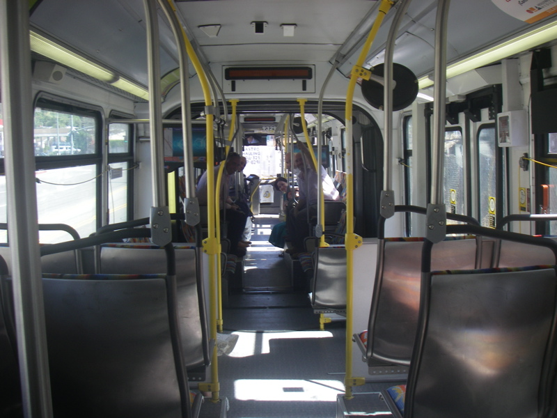 The 761 bendy bus from the Getty Center to Wilshire Boulevard
