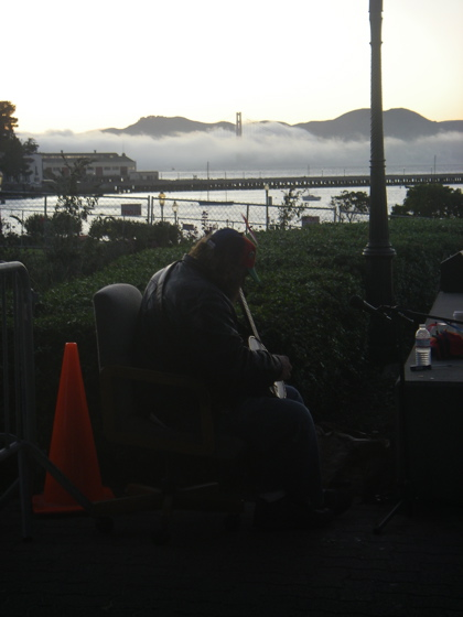 The banjo busker, complete with all the chat and the mist rolling in under the Golden Gate Bridge