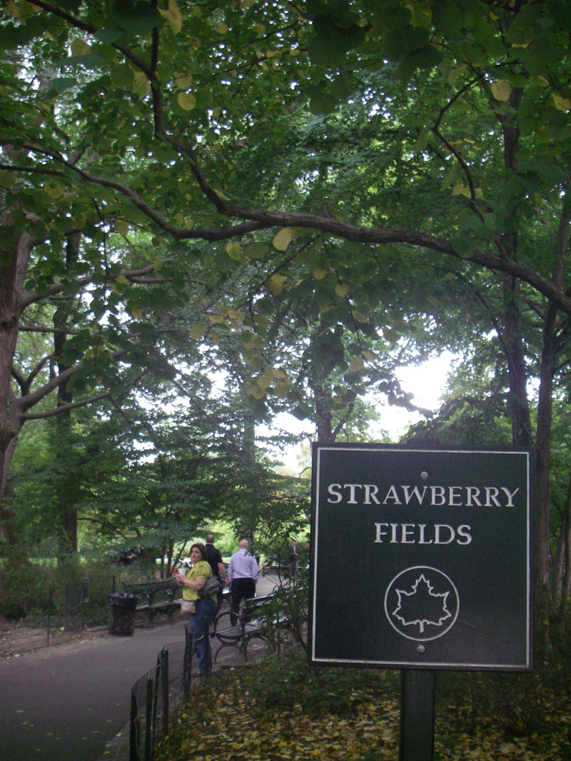 The remarkably unremarkable Strawberry Fields memorial - seems to consist of a sign, err and that's it.