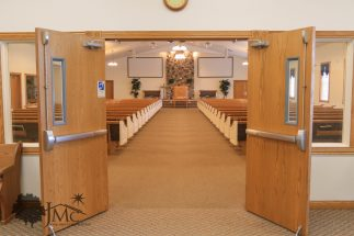 Auditorium entrance church in Goshen, Indiana