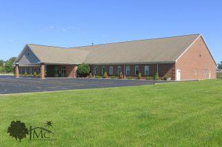 Church auditorium with fellowship hall in Goshen, Indiana