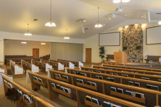 Side overflow room in auditorium in Goshen, Indiana
