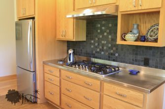 stainless steel counter with stove