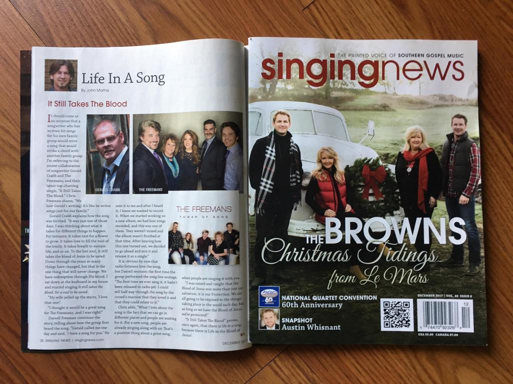 Southern Gospel, Life In A Song, Singing News, Singing News article, Singing News Top 80, Southern Gospel songwriter