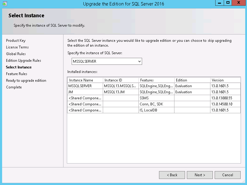 specify instance of sql server to modify