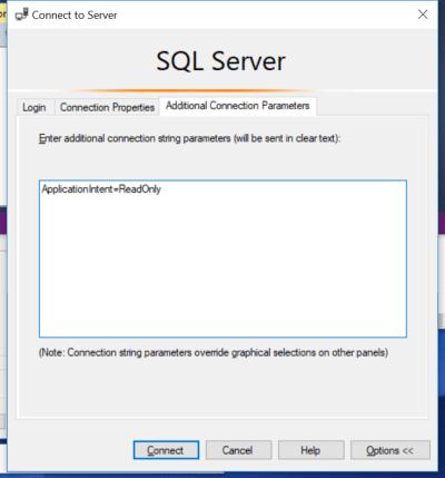 ApplicationIntent=ReadOnly SSMS