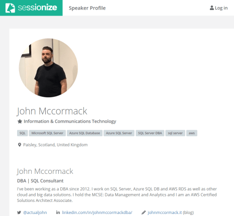 John McCormack's Sessionize speaker's profile