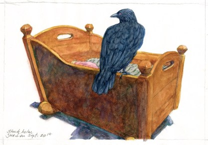 Cú Chulainn and the Mórrigan - Watercolor - 7 x 10 inches