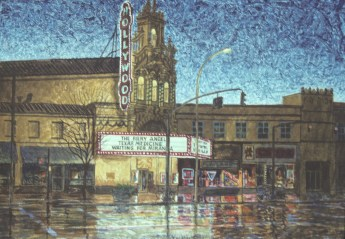 Hollywood Theatre 1 - Monoprint - 11 x 15 inches