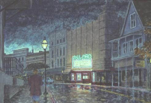 Rain Street - Watercolor - 10 x 15 inches
