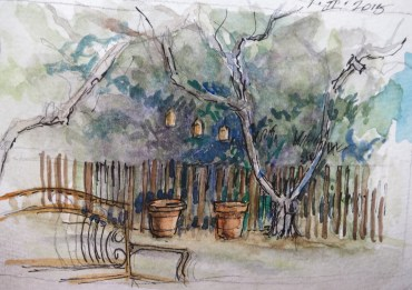 Backyard - Watercolor - 3 x 6 inches