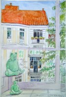 Erikastrasse - Watercolor - 7 x 10 inches