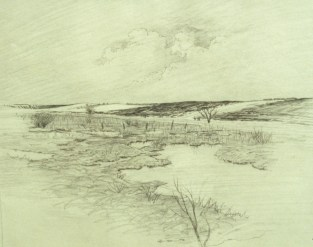 Winter Fields 2 - Charcoal - 18 x 24 inches
