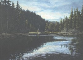 Slow Water - Oil/paper - 21 x 29 inches