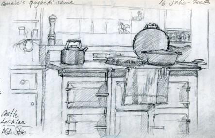 Castle Kitchen - Pencil/paper - 5 x 7 inches