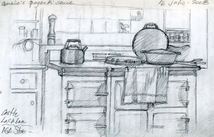 Castle Kitchen - Pencil/paper - 5 x 7 inches