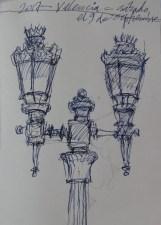 Farolas, Valencia, Spain - Ink/paper - 5 x 7 inches
