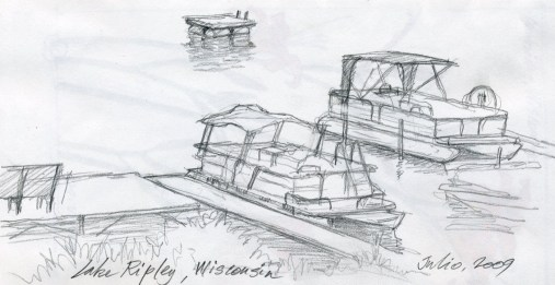 Boats, Lake Ripley - Pencil/paper - 7 x 10 inches