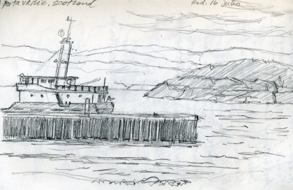 Scotland: Ferry - Pencil/paper - 5 x 7 inches