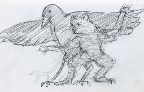 Raven and Cat - Pencil/paper - 5 x 7 inches
