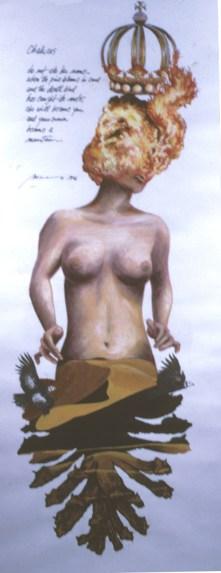 Chakras - Acrylic/paper - 15 x 34 inches
