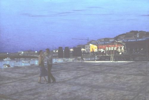 Muros de San Pedro Fiesta - Oil/canvas - 30 x 44 inches