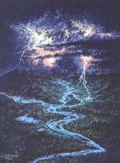 Storm Over Rivers - Oil/masonite - 11 x 15 inches
