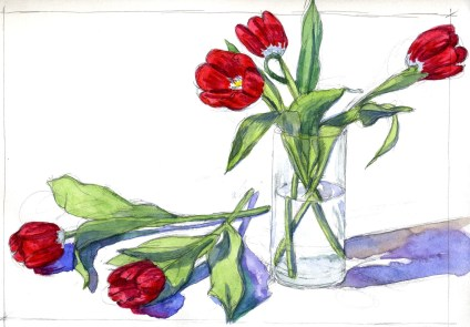 Red Tulips - Watercolor - 10 x 14 inches