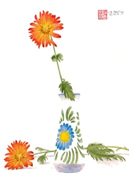 Two Daisies - Watercolor - 7 x 11 inches